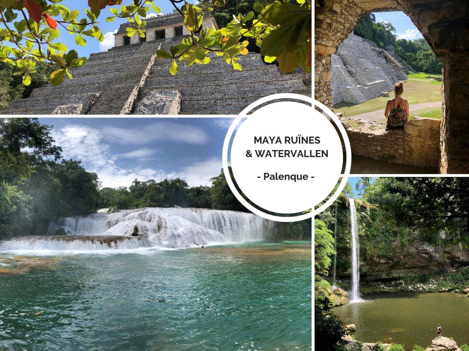 Palenque Watervallen Agua Azul en Misol-Ha en Maya Ruïnes