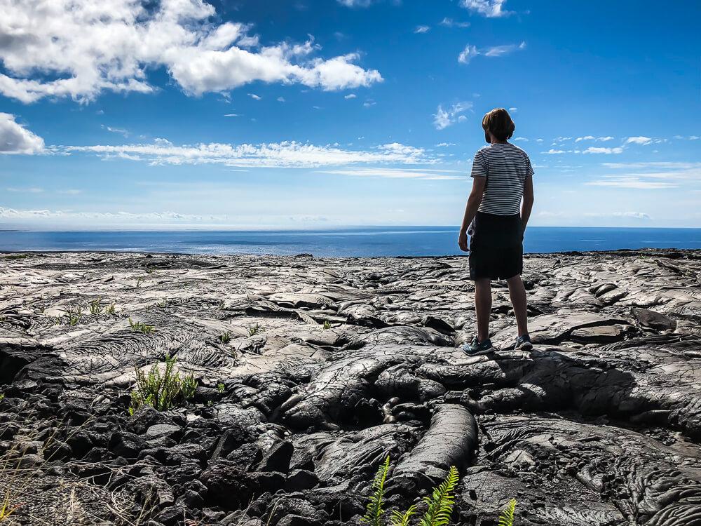 Volcanoes National Park Big Island - Eeuwenoude zichtbare lavastromen