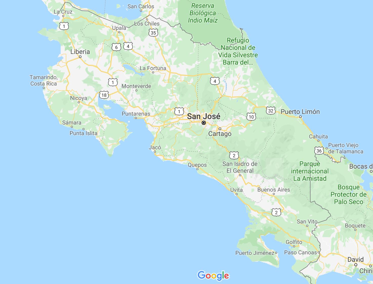 Kaart Costa Rica - auto huren Costa Rica ervaringen - by NOMADS